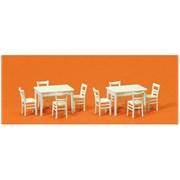17217 Столы (2) + стулья (8) деревянные белые